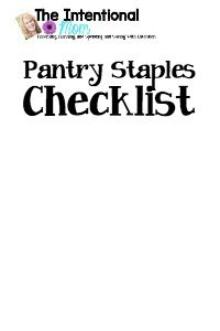 Shop Pantry Staples Checklist The Intentional Mom