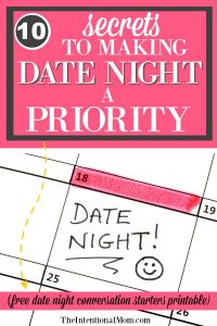 10 Secrets to Making Date Night a Priority For Married Couples + Free Printable