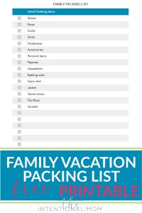 packing list family vacation