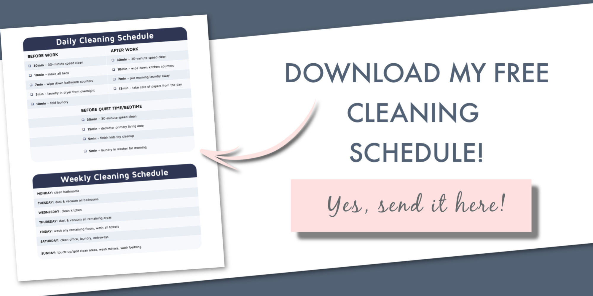 simple cleaning schedule working moms